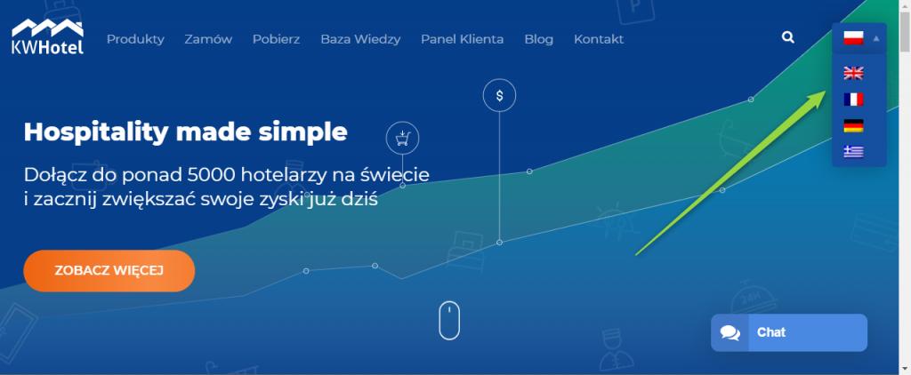 Nasza strona internetowa dostępna jest w pięciu wersjach językowych.