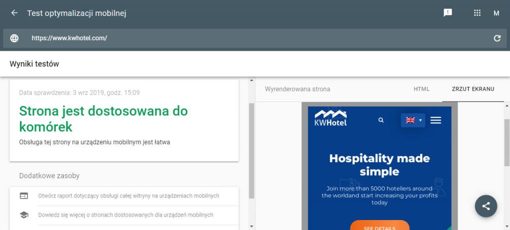 Strona internetowa KWHotel.com jest przystosowana do obsługi urządzeń mobilnych