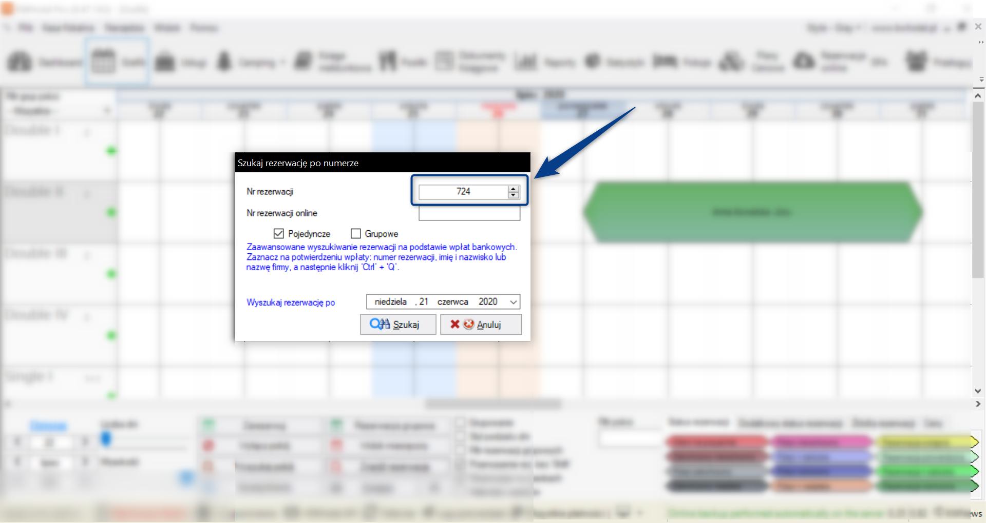 Kalendarz rezerwacji pokoi w hotelu - wyszukiwanie rezerwacji